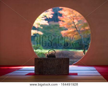 Japanese traditonal architecture and garden in beautiful autumn season