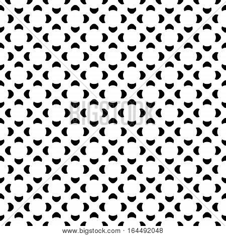 Vector monochrome seamless pattern. Abstract repeat geometric texture, simple black shapes on white backdrop. Endless background, retro style. Design element for printing, stamping, decoration, digital projects, web