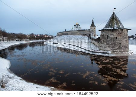 vew of embankment and Kremlin in Pskov, Russia