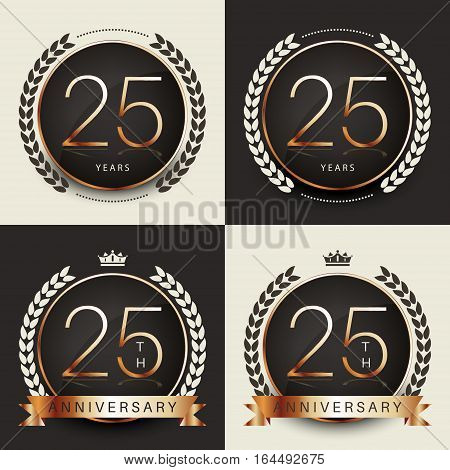 Twenty five years anniversary celebration logotype. 25th anniversary logo collection.