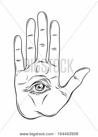 Spiritual Hand With The Allseeing Eye On The Palm. Occult Design Isolated Vector Illustration