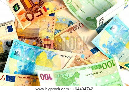a small pile of paper money euro currency as an element of the trade and economic system