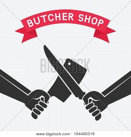 crossed butcher knives. butcher shop concept design. vector illustration - eps 8