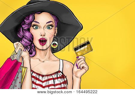 Pop Art girl with shopping bags holding a bank card.Comic woman. Sexy girl.