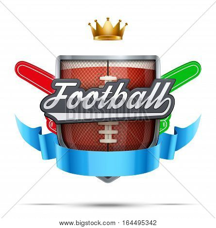 American Football Label. Fan fingers and shield with ribbon. Sporting Symbol and mascot. Vector Illustration Isolated on white background.