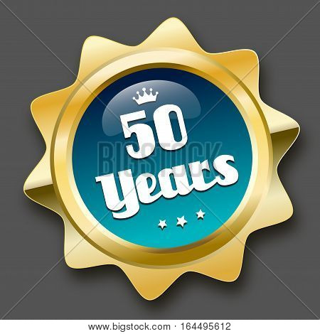 50 years jubilee seal or icon with crown symbol. Glossy golden seal or button with stars and turquoise color.