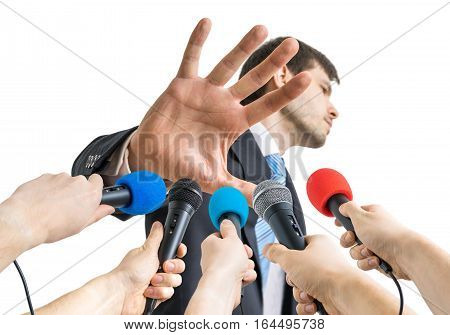 Many Microphones In Front Of Politician Who Shows No Comment Ges