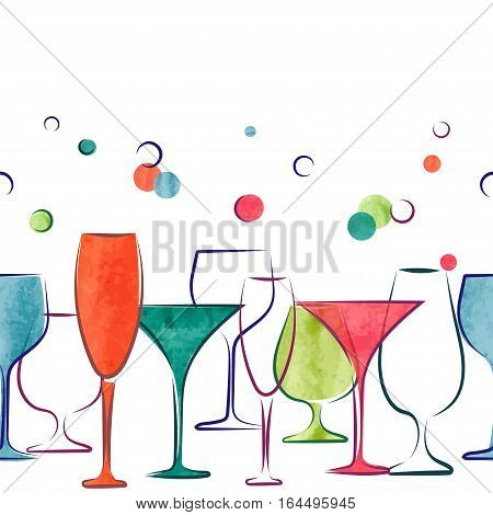 Cocktail party invitation or wine menu design. Vector border with colorful cocktail glasses.