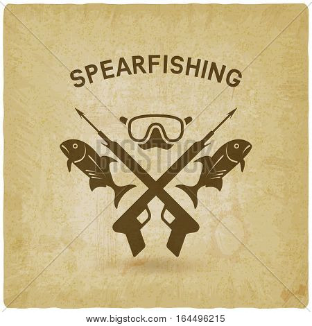 spearfishing club concept design old background. underwater hunting. vector illustration - eps 10