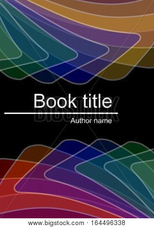 Dark book cover with abstract multicolored semitransparent shapes with white outline