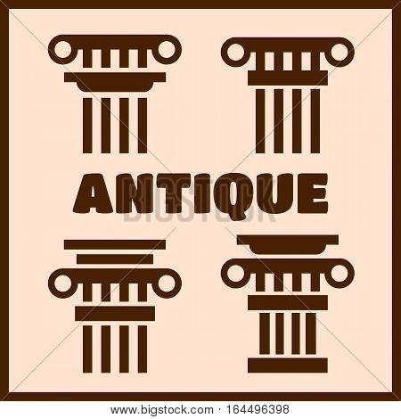 Column icons. Ancient architecture antique column vector