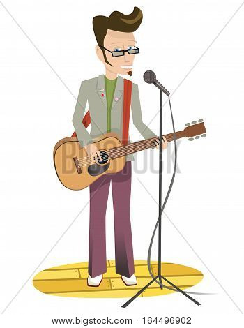 An illustration of a young man singing on stage.