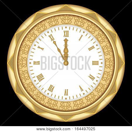 Ancient clock of the gold metal with ornaments and roman numerals vintage isolated object on black background. Clock in art deco style