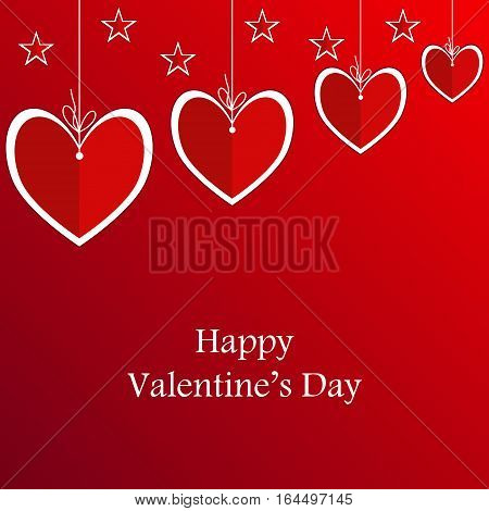 Valentine's card with suspended hearts. Red background
