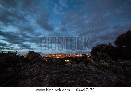 the city agrigento in the evening - sicily, italy