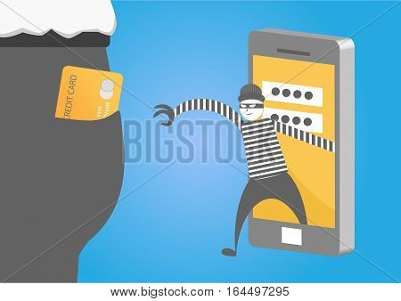Thief or hacker stealing credit card data from smart phone for phishing and internet viruses. hacking internet social network