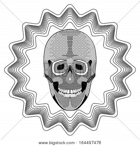 Smiling human skull on star shape background black and white drawing with hatched and patterned parts. Tattoo template