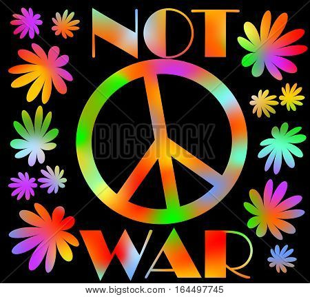 International symbol of peace disarmament anti-war movement. Grunge street art design in hippies rainbow colors inscription not war. Vector image on radiating background. Retro motif of hippies movement