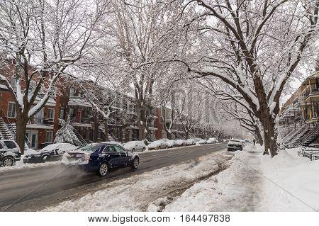 Montreal CA - 4 January 2017: Cars and trees covered in snow on De Lorimier Avenue.