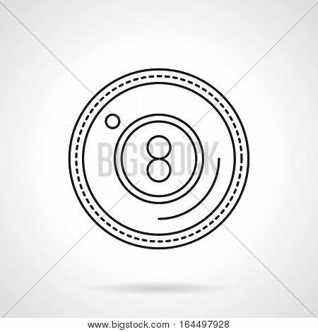 Symbol of eight-ball. Billiards pool game sign. Sphere with number 8 in circle. Luck and success in sport and hobby. Active leisure concept. Flat black line vector icon.