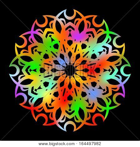 Psychedelic rainbow rosette on black background geometric symmetric multicolored shape with strong contrast