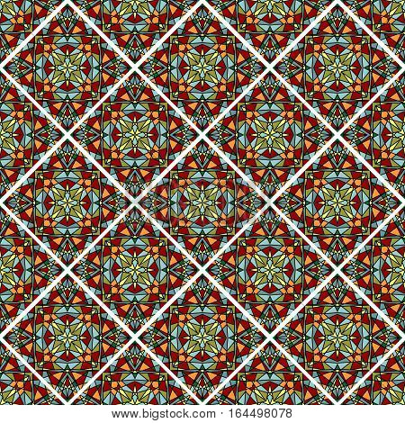 Decorative colorful mosaic tile. Seamless vector rhomboid patterns filled with multicolored shards