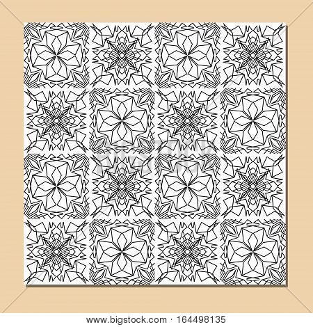 Cubist ornamental seamless tile in black and white square decorative element composed of polygonal shapes