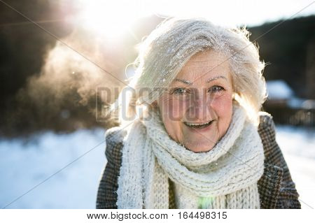 Beautiful senior woman on a walk in sunny winter nature, covered by snow.