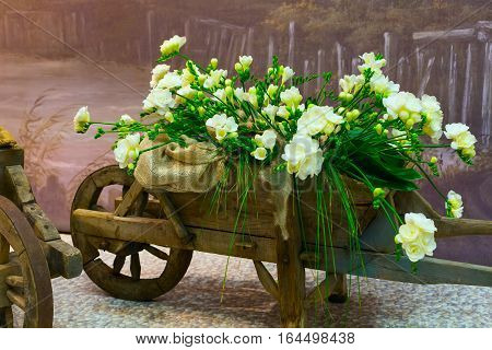 Old wooden cart and bouquet of white yellow alstroemeria background