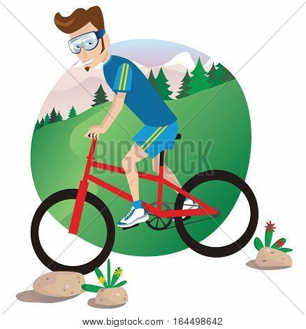 An illustration of a man riding his mountain bike down a hill.