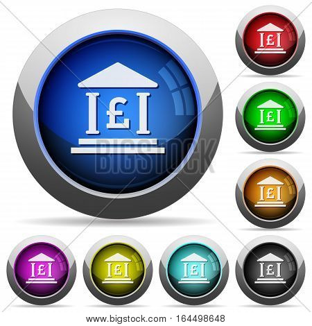 Pound bank office icons in round glossy buttons with steel frames