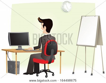 An image of a businessman using his computer in the office. Plenty of blank space for your own message.