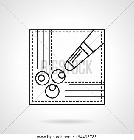 Symbol of billiard table corner with three balls in hole and cue. Pool game scores, free kick sign. Sport and activity leisure concept. Flat black line vector icon.