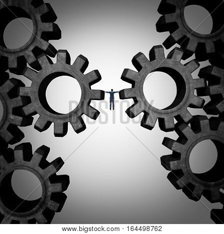 Business management concept as a boss or businessman holding the gears of an industrial machine as a financial corporate metaphor for controlling production with 3D illustration elements.