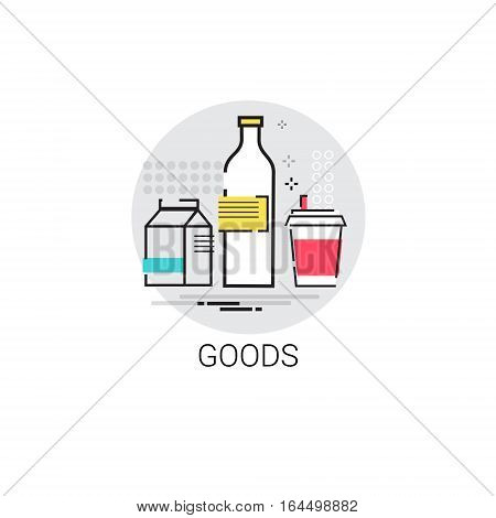 Fresh Dairy Food Goods Shop Icon Vector Illustration