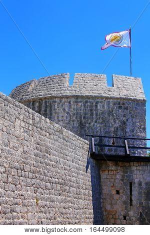 Defensive Tower In Ston Town, Peljesac Peninsula, Croatia