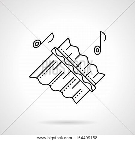 Symbol of abstract ornate reed panpipes and notes. Melody of wooden flute. Woodwind musical instrument theme. Ethnic music festival. Flat black line vector icon.