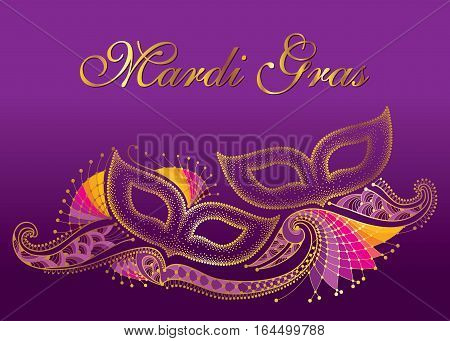 Greeting poster with two dotted carnival mask and outline decorative lace in gold on the violet background. Celebration design for Mardi Gras carnival in contour style. Vector illustration.