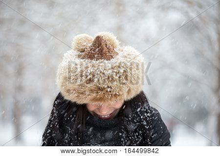 Smiling Winter Woman With Hat