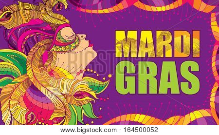 Vector poster with profile woman face in carnival mask with outline golden peacock feathers, ornate collar and colorful beads on the violet background. Design for Mardi Gras party in contour style.