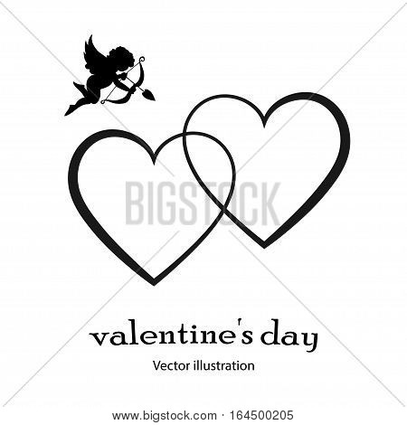 Heart icon with an angel in black style on a white background. Vector illustration.