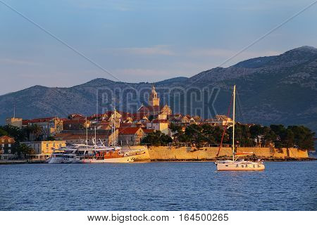 Korcula Old Town In Early Morning Light, Croatia