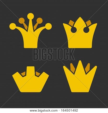 Gold Crown Icons Set on Dark Background. Vector illustration