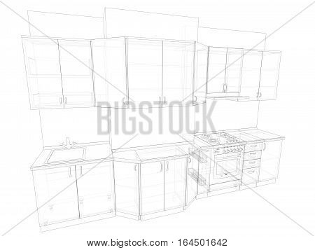 3d sketch of kitchen artificial stone MDF