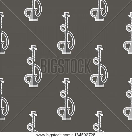 Hookah Silhouette Isolated on Grey Background. Seamless Pattern