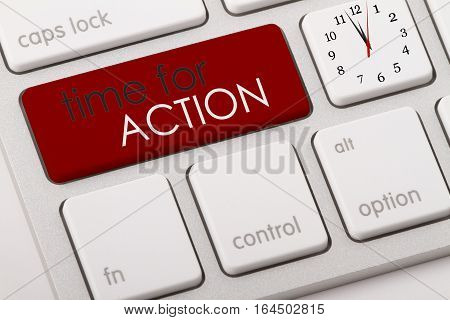Time for action written on computer keyboard.