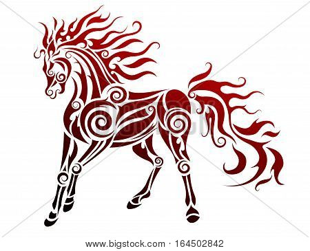 Flaming horse isolated on white. Tribal vector illustration
