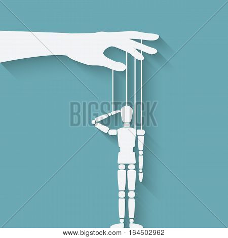 hand with puppet. vector illustration - eps 10