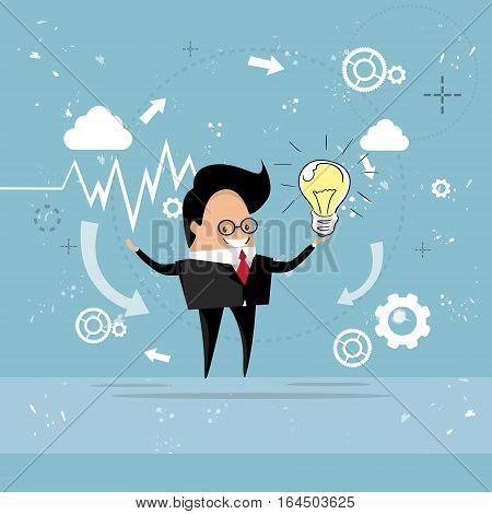 Business Man New Idea Concept Hold Light Bulb Flat Vector Illustration
