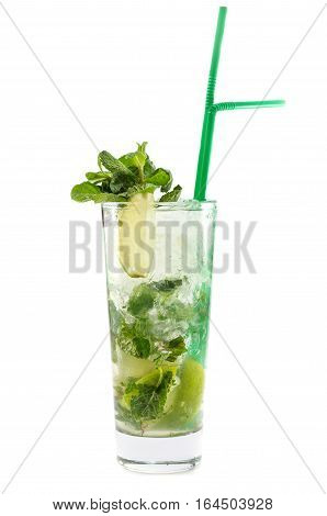 refreshing mojito cocktail on a white background